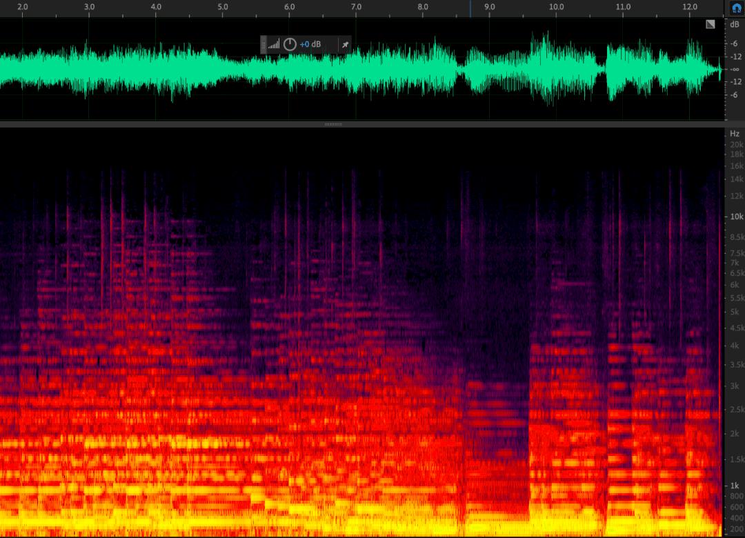 图为拉赫玛尼诺夫《 g 小调前奏曲》演奏片段的频谱图 可以看到音频信号中的每一时刻都有不同频率的成分混叠交织在一起,混响也很大。